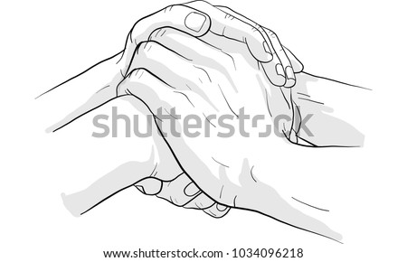 hand holding hand together vector