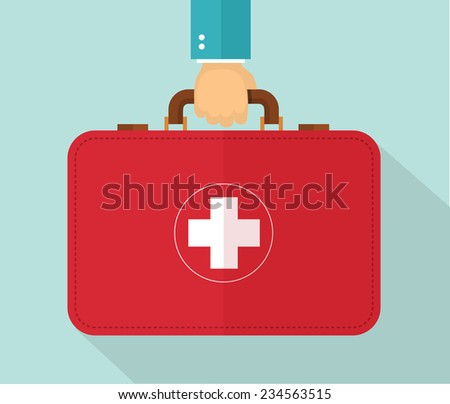 Hand holding healthcare briefcase. Eps10