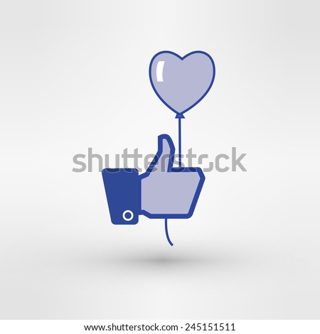 hand holding heart baloon icon