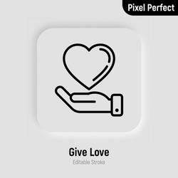 Hand holding heart thin line icon. Symbol of love, care and support each other. Pixel perfect, editable stroke. Vector illustration.