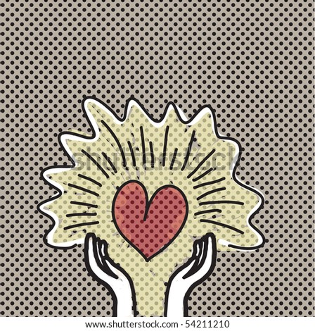 hand holding heart w/ retro design
