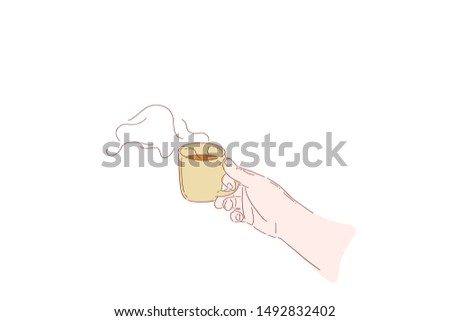hand holding hot coffee in the