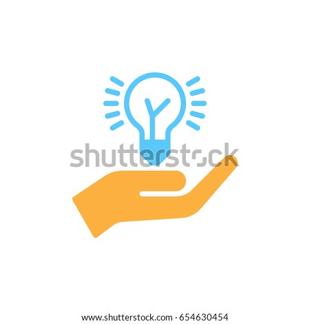 Hand holding idea bulb colorful icon, vector flat sign. Idea sharing symbol, logo illustration