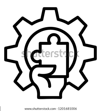 Hand holding jigsaw with cogwheel is icon for Strategy