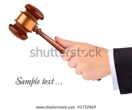 Hand holding judge's gavel. Vector - stock vector