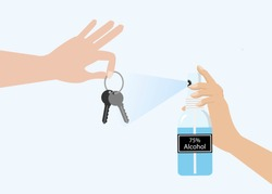 Hand holding keys ring and spraying 75% Alcohol spray to protect from COVID-19 corona virus disease. Idea for hygiene cleaning, COVID-19 corona virus outbreak, awareness and prevention. Vector.