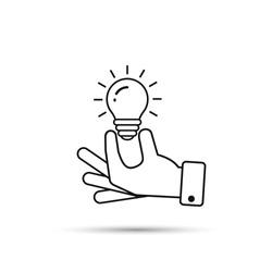 Hand holding light bulb outline icon. Business idea concept. Vector illustration.
