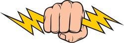 Hand Holding Lightning Bolt (Fist) vector illustration