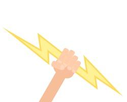 hand holding lightning. Vector illustration isolated on white background