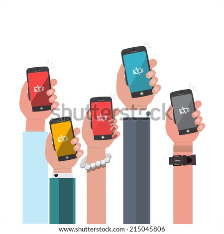 hand holding low battery smartphone - vector illustration