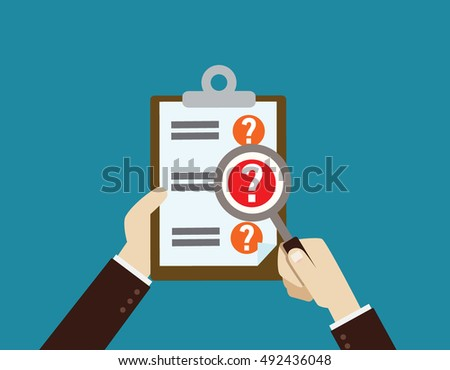 Hand holding magnifying glassand Clipboard with question marks .Survey, quiz, investigation, customer support questions conceptsflat design concept for web banners. vector illustration icon modern. Сток-фото ©