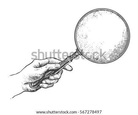 hand holding magnifying glass....