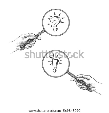 Hand holding magnifying glass with question and answer marks icons. Vintage Victorian Era Engraving style crosshatch hatching paper painting retro vector lineart hand drawn illustration