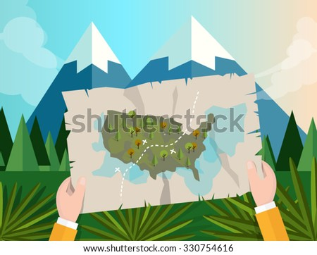 hand holding map america