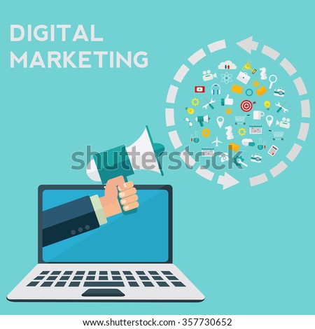 Hand holding megaphone coming out from laptop, digital marketing vector concept