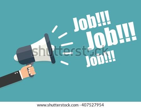 Hand holding megaphone - Job