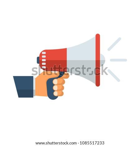 Hand holding megaphone. Speaker, loudspeaker. Advertising and promotion symbol. Bullhorn cartoon. Social media marketing concept. Vector illustration flat design. Isolated on white background.