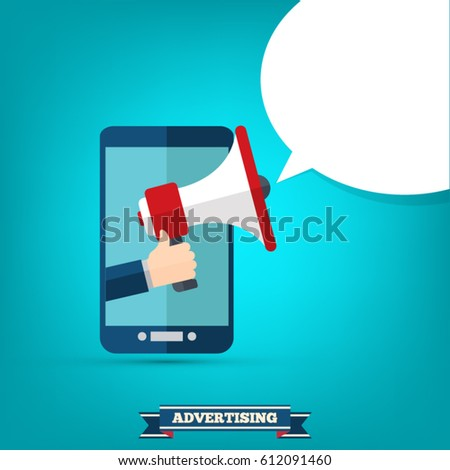 Hand holding megaphone with bubble speech - mobile phone advertising concept