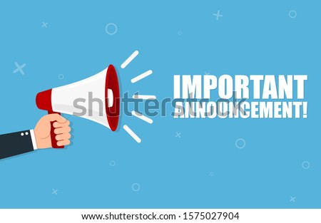 Hand holding megaphone with Important Announcement. Vector flat Foto stock ©