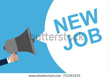 Hand Holding Megaphone With Speech Bubble NEW JOB. Announcement. Vector illustration