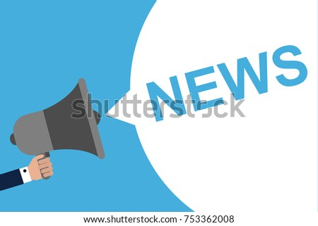 Hand Holding Megaphone With Speech Bubble NEWS. Announcement. Vector illustration