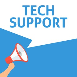 Hand Holding Megaphone With TECH SUPPORT Announcement
