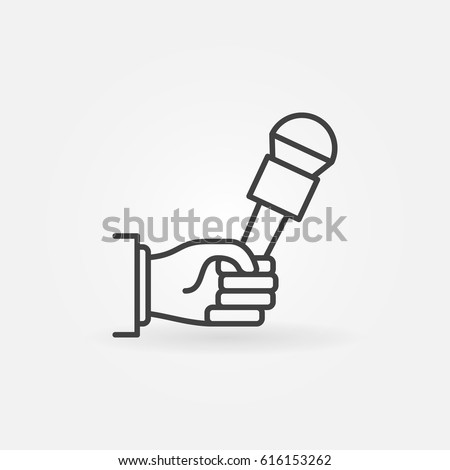 Hand holding microphone icon. Vector interview or news concept symbol or logo element in thin line style