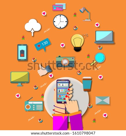 Hand holding mobile phone device with internet icons.He use application and connect on line.Calling service,contact,technology,love,Vector communicate and flat design vector.