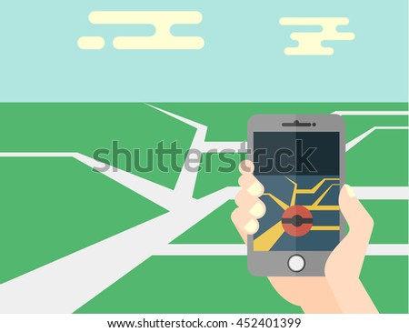 hand holding mobile phone flat