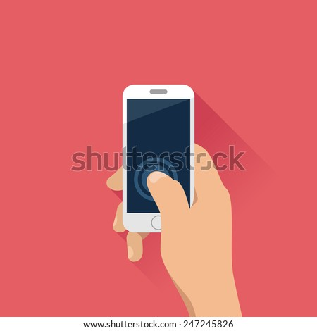 hand holding mobile phone in