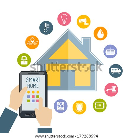 Hand holding mobile phone tablet controls smart home temperature water light security technology flat concept vector illustration