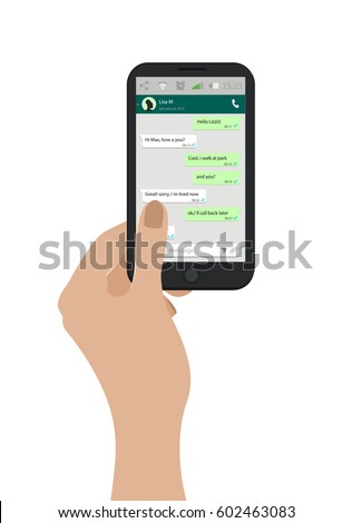 Hand holding mobile phone. Vector illustration. Social network concept. Vector. Messenger window. Chating and messaging concept. Green chat boxes.