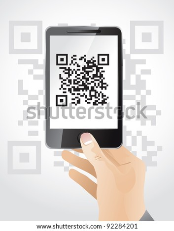 hand holding mobile phone wit qr code - vector illustration