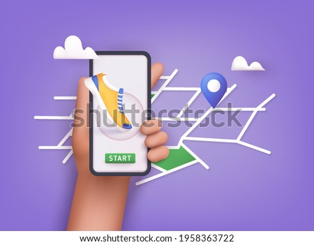 Hand holding mobile smart phone app with track displayed with route. Vector fitness route tracking concept illustration. 3D Vector Illustrations. Сток-фото ©