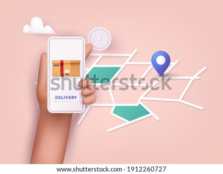 Hand holding mobile smart phone with app delivery tracking. Vector modern flat creative info graphics design on application. 3D Vector Illustrations.