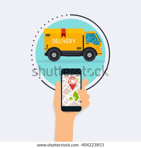 Hand holding mobile smart phone with app delivery tracking. Vector modern flat creative info graphics design on  application.