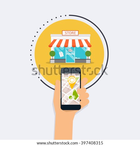 Hand holding mobile smart phone with application search store. Find closest on city map. Flat design style modern vector illustration concept.