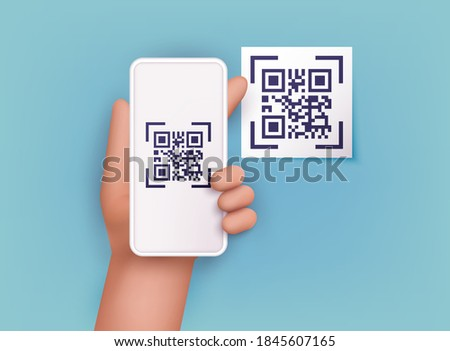 Hand holding mobile smart phone with scan QR code. Scanning qr code and online payment, money transfer. Electronic , digital technology, barcode. Vector illustration.