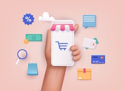 Hand holding mobile smart phone with shopp app. Online shopping concept. 3D Web Vector Illustrations.