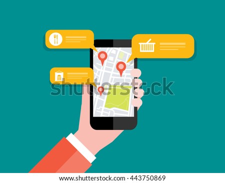 Hand holding mobile with map location navigation  check in  and GPS concept