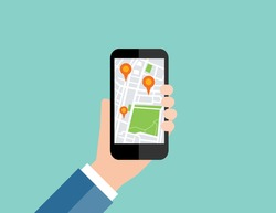 Hand holding mobile with map location navigation.flat vector
