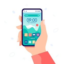 Hand holding modern cell phone with home screen smartphone interface. Touchscreen device with search bar and forecast. Start screen with app icons, shortcuts. Vector flat cartoon illustration