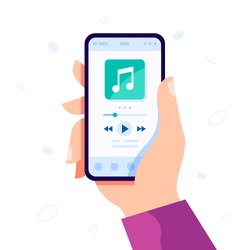 Hand holding modern phone playing audio or radio. Smartphone music player user interface concept. Music player app interface vector color template. Media player navigation screen flat illustration