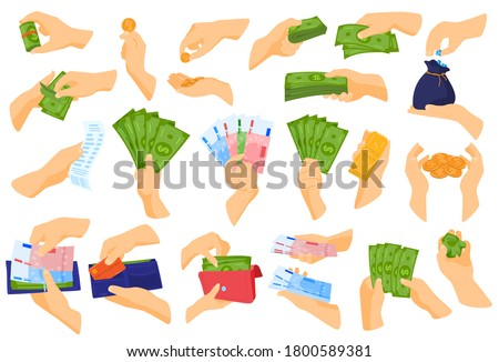 Hand holding money vector illustration set. Cartoon flat human hands collection with cash money, gold bar and bag of coins, wallet full of banknotes and bank credit pay card. Payment isolated on white