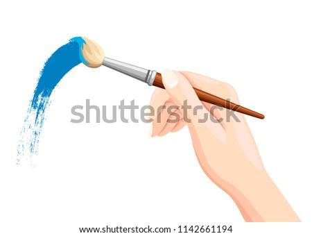 Hand holding paintbrush. Brush painting on white. Blue paint. Vector flat illustration isolated on white background.