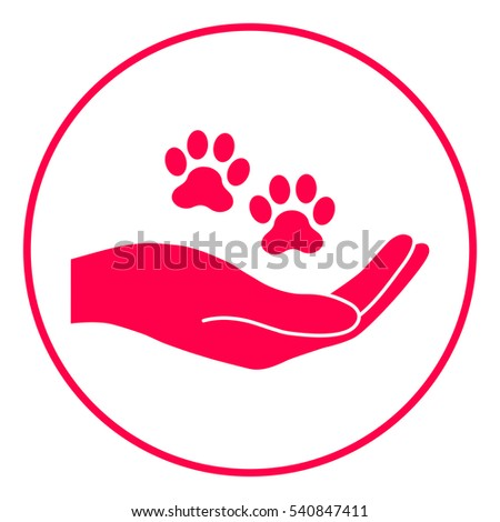 hand holding paw symbol animal