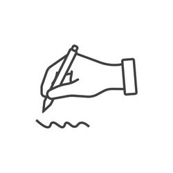 Hand holding pen, writing line icon.