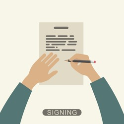 Hand holding pencil and signing contract. Vector flat illustration.