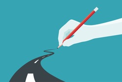 Hand holding pencil. Concept of the path to business success at choose your own. Vector illustration.
