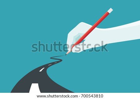 hand holding pencil concept of